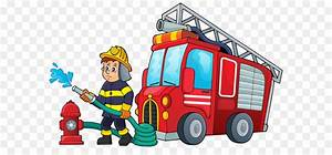 Fire Engine Firefighter Cartoon Illustration