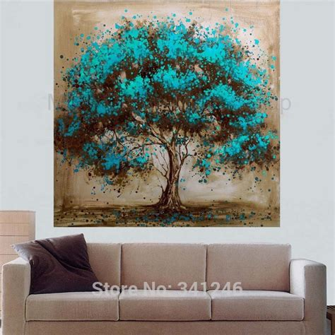 painted modern home decoration abstract wall picture for living room blue tree