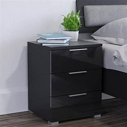 Nachttisch Chevet Schlafzimmer Schwarz Kommode Nachtschrank Schublade