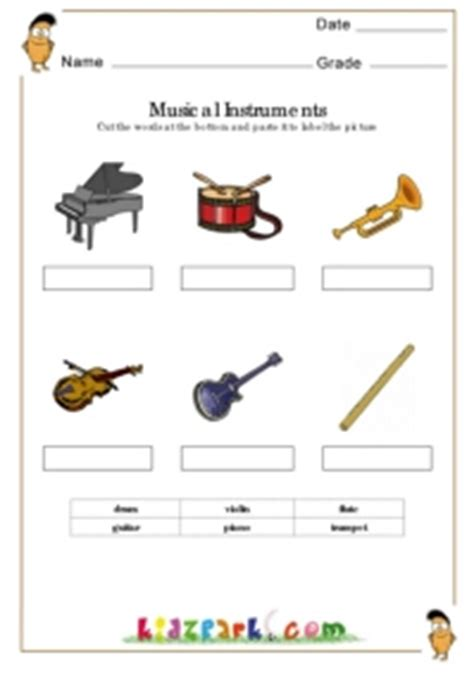 musical instrument worksheetsmatching worksheets