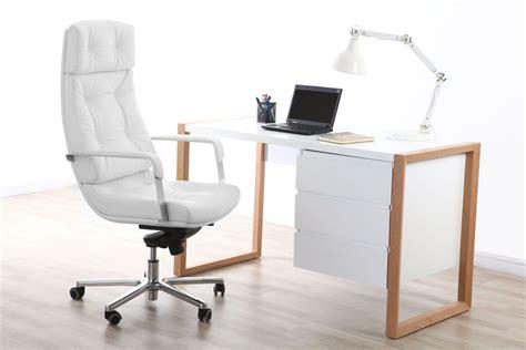 fauteuil de bureau cuir blanc adagio cuir de buffle miliboo
