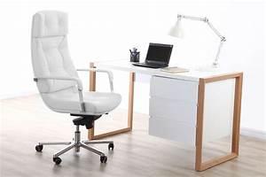 Fauteuil Cuir Bureau : fauteuil de bureau cuir blanc adagio cuir de buffle miliboo ~ Teatrodelosmanantiales.com Idées de Décoration