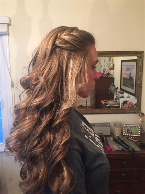 loose curls with a braid by me hair design pinterest