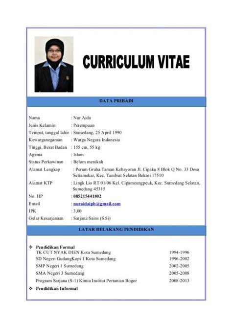 15 contoh cv curriculum vitae daftar riwayat hidup