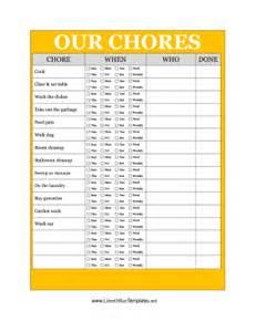Free Fax Sheet Templates Yellow Family Chore Chart