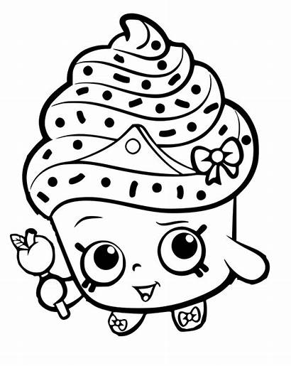 Shopkins Cupcake Queen Coloring Pages Outline Valentine