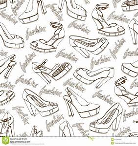 Fashion Women Shoes Seamless Pattern.Outline Stock Vector ...