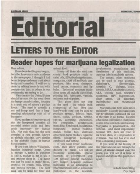 reader hopes  marijuana legalization letter  waushara