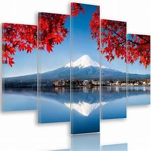 Tableau D École Mural : tableau d co multi panneaux mural impression sur toile 150x100 vue paysage japon mont fuji bleu ~ Melissatoandfro.com Idées de Décoration