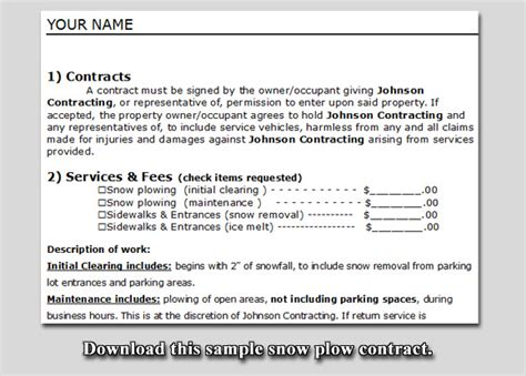 Residential Snow Removal Contract Template by Snow Plow Contract Sle Lawn Care Business Marketing
