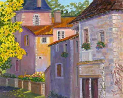 French Landscape Oil Painting Dordogne Village Vivid Sun