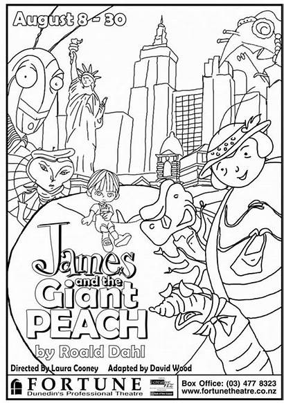 Peach Giant James Coloring Pages Dahl Roald
