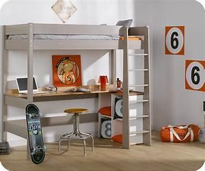 Lit Mezzanine Bureau Enfant : cama alta juvenil clay 90x190cm lino con escritorio ~ Teatrodelosmanantiales.com Idées de Décoration