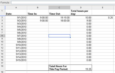 Template To Calculate Hours Worked by Sheets Automatically Calculate Overtime Hours