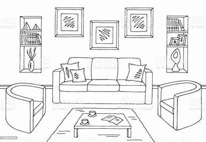 Living Sketch Interior Vector Illustration Graphic Coloring