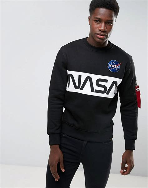 Lyst - Alpha Industries Nasa Inlay Crew Sweatshirt In Black in Black for Men