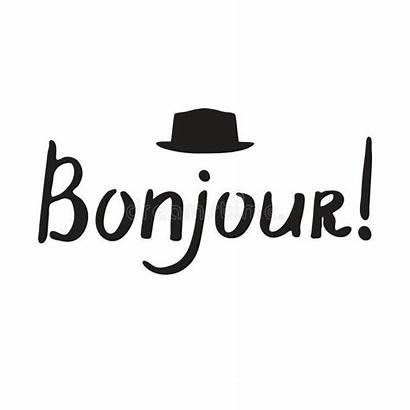 Bonjour French Francese Phrase Calligraphy Uitdrukking Franse