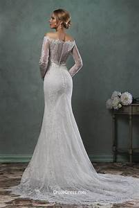 destination mermaid off the shoulder lace long sleeves With long lace wedding dress