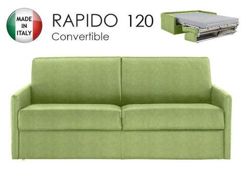 canape lit 2 3 places sun convertible ouverture rapido 120cm microfibre vert anis