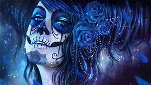 Girl with Dia de Los Muertos Make-Up and Roses Full HD ...