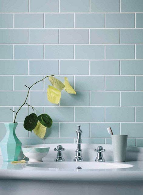 pale duck egg blue brick tiles with crisp white and light timber is a classic colour combo gem
