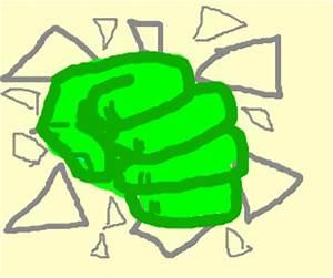 Hulk's hand smashing through TV screen in anger (drawing ...