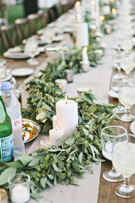 ideas  wedding table garland  pinterest