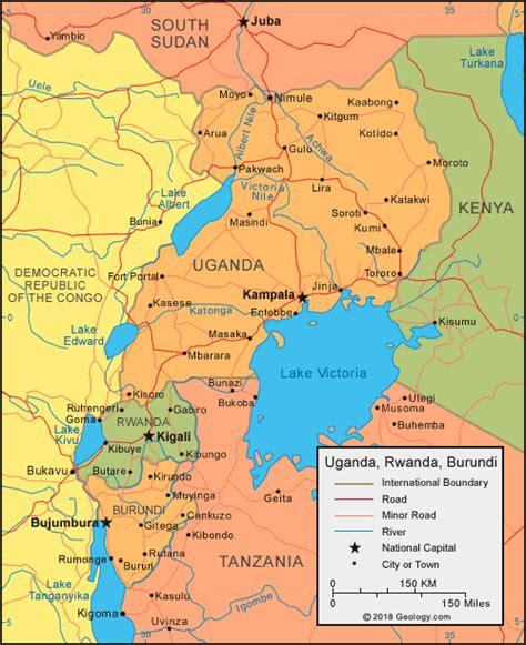uganda map  satellite image