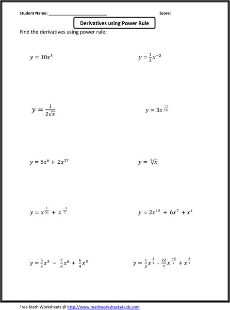 Basic Calculus Worksheets For Higher Grade Students  Teaching, Math (algebra) Pinterest