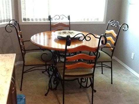 free wrought iron kitchen dining table and four chairs