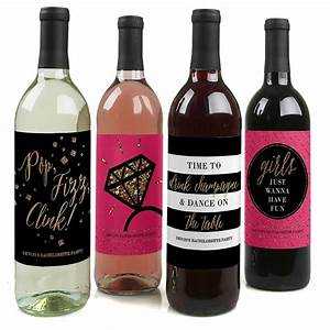 girls night out bachelorette custom wine bottle labels for With custom wine bottle stickers