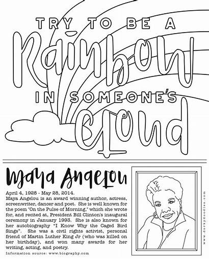 Coloring History Maya Angelou Month Pages Printable