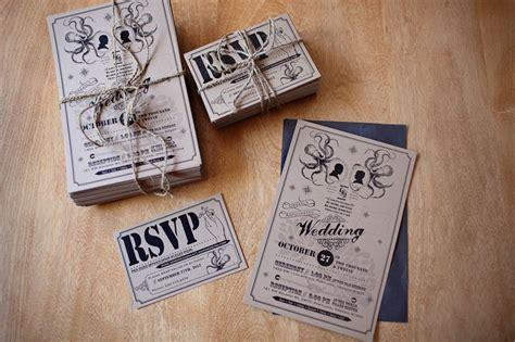 Black Ink And Natural Kraft Paper Wedding Invites Vintage