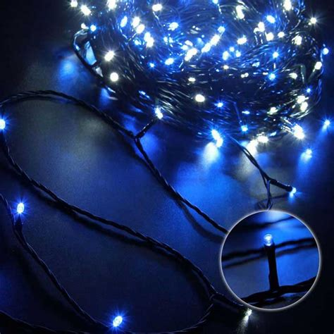 solar powered decorative twinkle led light string blue
