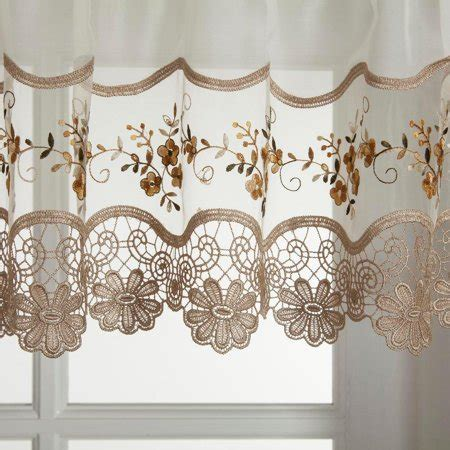Vintage embroidered gold kitchen curtain swag   Walmart.com