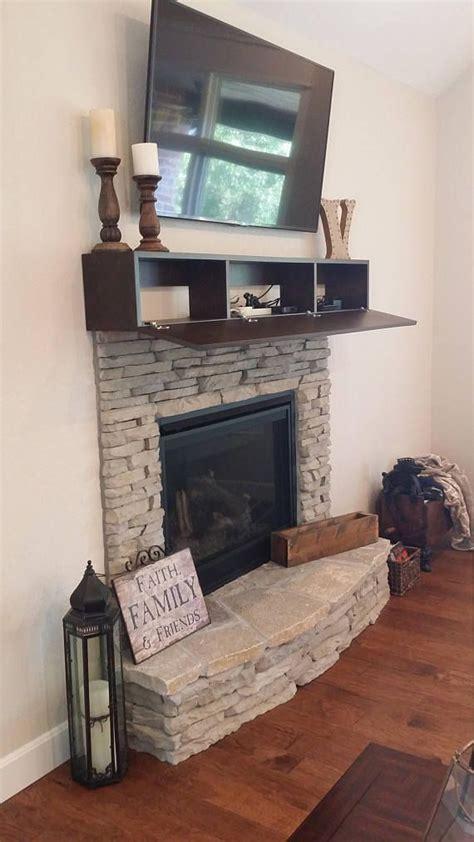 custom fireplace mantel  drop front shelf media