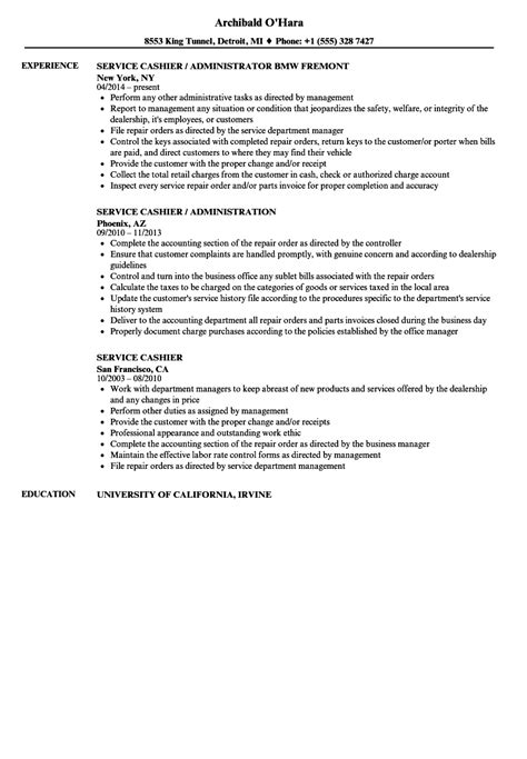 Cashier Description For Resume by Service Cashier Resume Sles Velvet