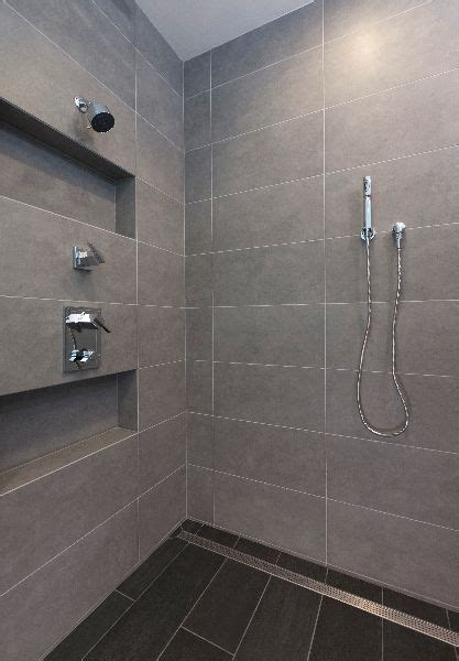 Large Tiles For Bathroom by Large Format Tile Shower And Linear Shower Drain Photo