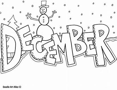 December Coloring Pages Month Simple