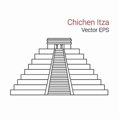Mayan Temple Chichen Itza Vector Line Icon