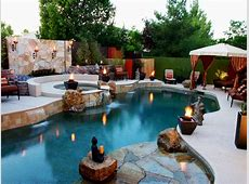 Swimming Pool With Jacuzzi and Flagstone Walls HGTV