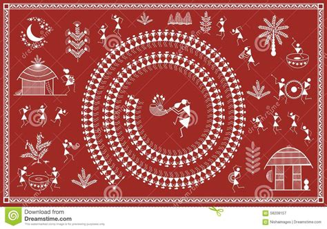 indian tribal painting warli painting stock illustration