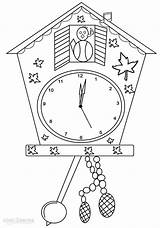 Clock Coloring Pages Printable Clocks Colouring Cuckoo Cool2bkids Grandfather sketch template