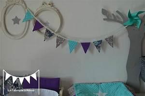 Guirlande Chambre Fille : guirlande fanions tissus toiles turquoise gris violet ~ Preciouscoupons.com Idées de Décoration