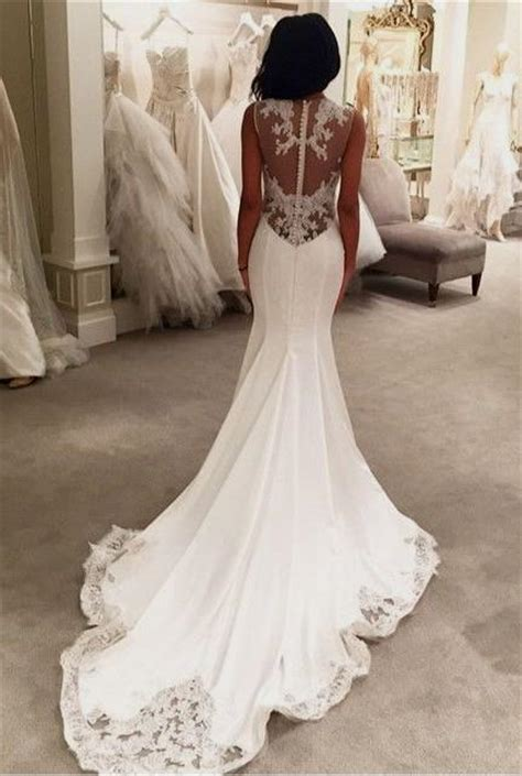 Lace Back Wedding Dress With Buttons Naf Dresses