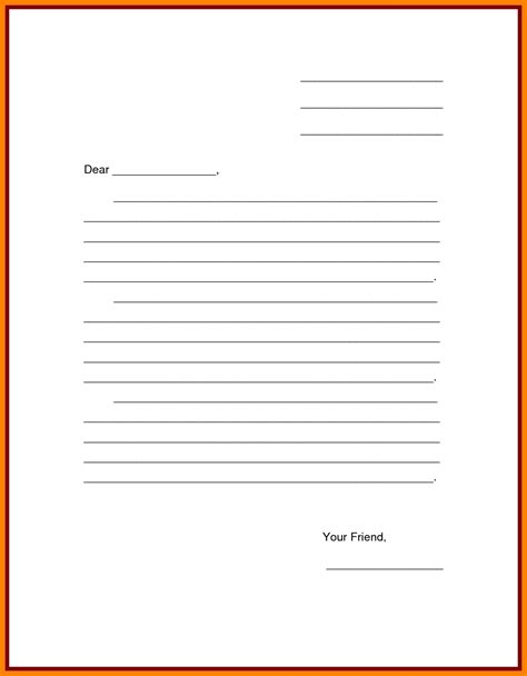 friendly letter template  examples