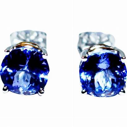Tanzanite Stud Earrings Gold Natural Ct 14kt