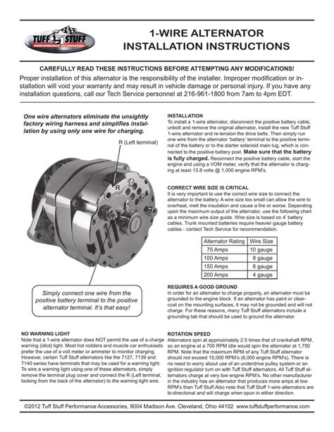 Wire Alternator Installation Instructions