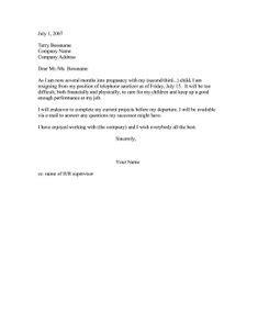 maternity leave resign letter baby ideas