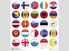 European Buttons Round Flags Stock Vector Illustration